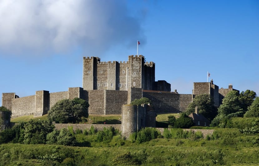Mighty castle on the hill above Dover, United Kingdom